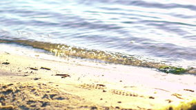 Close up of coast with crystalline water waves of river, sunny. Slowly stock video footage