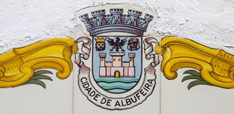 Albufeira Coat of Arms in Portugal. Close-up of the coat of arms of the city of Albufeira in Portugal royalty free stock photography