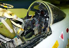 Close-up of cockpit of F-4 Phantom, american jet of the Vietnam war. London, UK royalty free stock photos