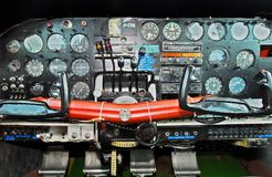 Close-up of a cockpit of a Twin Bonanza Plane, Philippines royalty free stock image