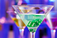Close-up of cocktail glass with dice inside Royalty Free Stock Images