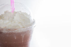 Close-up cocoa milkshake topping with whipping cream Royalty Free Stock Photos