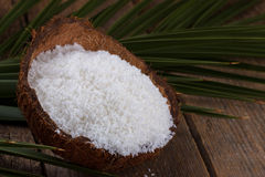 Close up of coconut flakes stock image