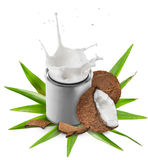 Close-up of a coconuts with milk splash on can Royalty Free Stock Images