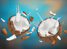 Close-up of a coconuts with milk splash. Stock Photo