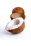 Close-up of coconuts on white background Stock Photo