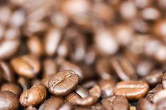 Close-up coffee beans with blurred background stock photo