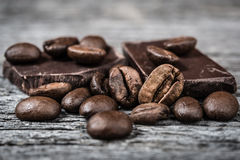 Close up of coffee beans and  chocolate Stock Photography