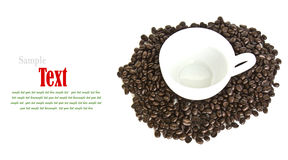 Close up of coffee beans and coffee cup Royalty Free Stock Photography