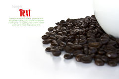 Close up of coffee beans and coffee cup Royalty Free Stock Images