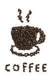 Close up of coffee beans cup shape Royalty Free Stock Images