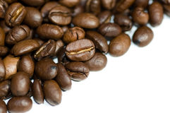 Close up coffee beans isolated Royalty Free Stock Photos