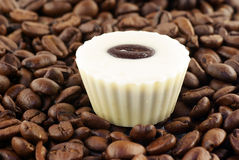 Close up of coffee beans and one bonbons. Close up of coffee beans and one bononbs Stock Photography