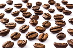 Coffee beans pattern isolated on white background. Close up coffee beans pattern isolated on white background Stock Images