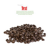 Close up of coffee beans on white background Stock Images