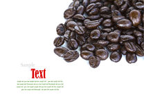 Close up of coffee beans on white background Royalty Free Stock Photography
