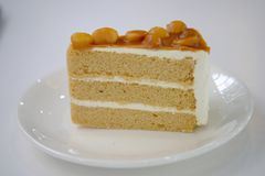 Coffee cake on white dish. Close up Coffee cake on white dish look delicious stock photo