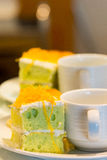 Close up coffee cup and cake Royalty Free Stock Photo