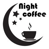 Banner for a night cafe. A cup of coffee, the moon and stars. Is. Close up of coffee cup With the moon and the stars on white background. concept-night coffee stock illustration