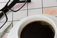 Close up  coffee cup  on  office desk. Royalty Free Stock Photography