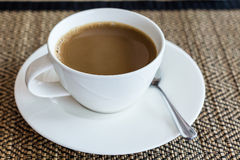 Close-up of a coffee cup - Stock Image. Close-up of a white coffee cup - Stock Image Royalty Free Stock Photography