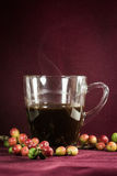 Close up of coffee and fresh raw coffee beans. On texture background Stock Image