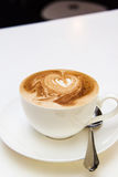 Close up of coffee latte cappuccino heart Royalty Free Stock Photography