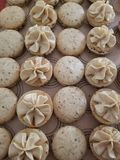 Coffee macarons ready to be assembled. Close up of coffee macarons about to be assembled. Delicious coffee flavor. Great for the fall and winter. A special royalty free stock photography