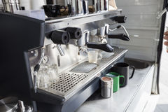 Close-up of coffee machine Royalty Free Stock Photo