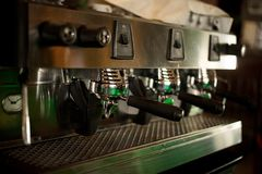 Espresso machine background stock image