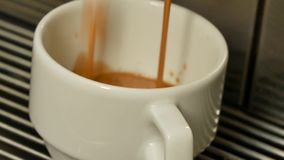 Close-up of a Coffee machine makes coffee. Coffee machine makes a coffee stock footage