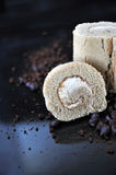 Close up Coffee Roll Cake Stock Images