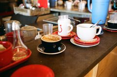 Close-up of Coffee Served on Table at Cafe Royalty Free Stock Image