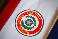 Close up of the coffin covered with Paraguayan flag in National Stock Images