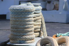 Close up of coils of textured heavy duty rope Stock Photo