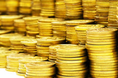 Close up of the coin stacks Royalty Free Stock Images
