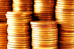 Close up of the  coin stacks Stock Images