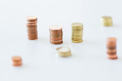 Close up of coins columns Royalty Free Stock Photography