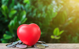 Close up of coins and red heart, Money, Financial Royalty Free Stock Photo