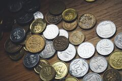 Close-up of Coins on Table Stock Images