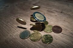Close-up of Coins on Table Royalty Free Stock Photos
