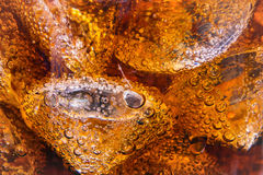 Close up of Cola bubble in glass for background ,shallow DOF. Close up of Cola bubble in glass selected focus for background Stock Photos