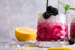 Close-up of a cold berry drink. Beverage with mint twig, sour lemon and blackberries on a gray stone background. Royalty Free Stock Images