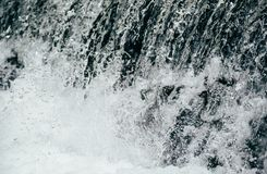 Close up of cold fresh water in mountain river, rapids, whitewater.  royalty free stock images