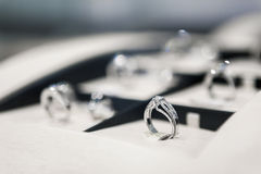 Close up of collection of rings in the showcase Stock Photography