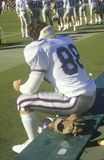 Close-up of College football player deep in thought on bench, West Point, NY Royalty Free Stock Photography