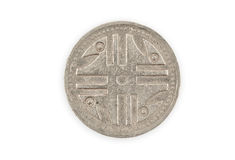 Close-up of a colombian coin  isolated. Royalty Free Stock Photo