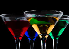 Close up of color cocktails Royalty Free Stock Images