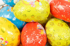 Close up of easter chocolate eggs Stock Images