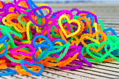 Close up of color full elastic love heart shape loom bands rainb Stock Photography